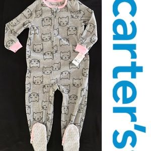 NEW carters fleece footed Pajamas Cat size 4T